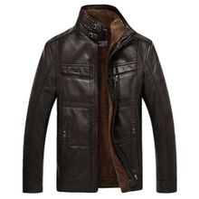 4a97bcefe69c Faux Leather Inside Fleece Stand Collar Mutil Pockets Thicken Warm Biker  Jacket For Men Black