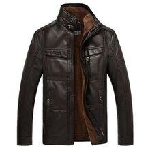 4a97bcefe69c Faux Leather Inside Fleece Stand Collar Mutil Pockets Thicken Warm Biker  Jacket For Men Black