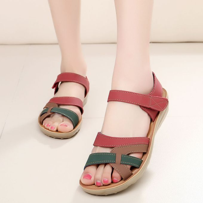 8fa14a880db85 (Xiuxingzi) Women Ladies Summer Fashion Leather Sandals Wedges Comfort Big  Size Shoes