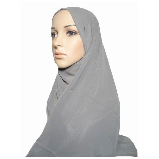 حجاب من الشيفون - 70 × 175 سم - رمادي