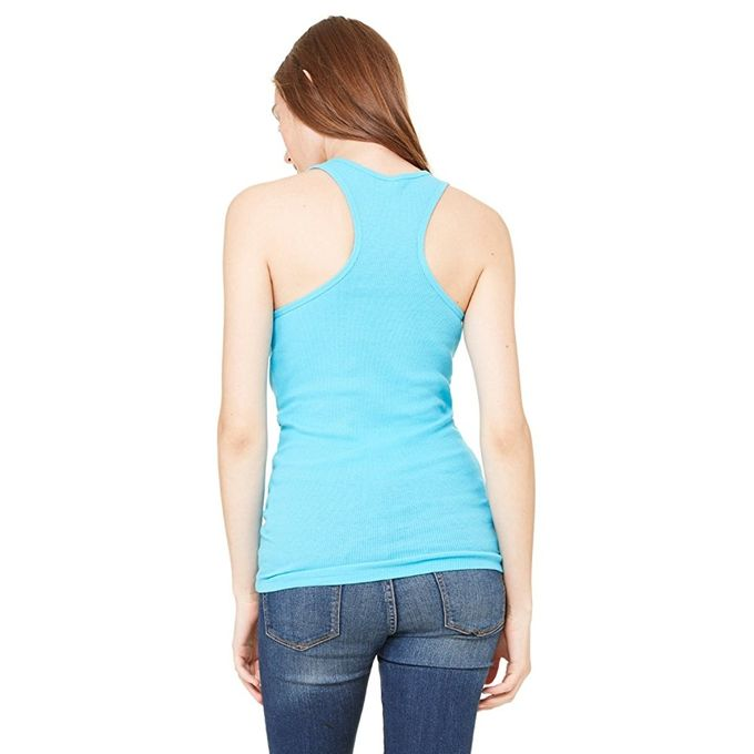 4070 Bella+Canvas Ladies 2x1 Rib Racerback Longer Length Tank [Turquoise, X-Large]