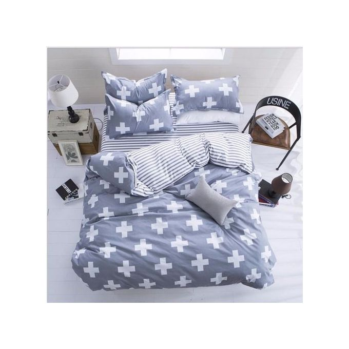 White Cross Double Size Bed Set Pillowcase Quilt Duvet Cover –  مصر
