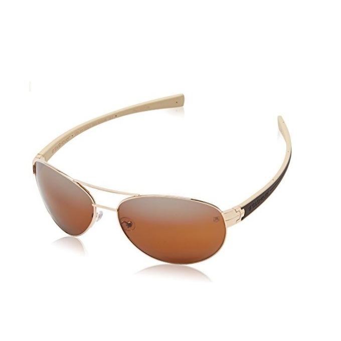 ac2d47e73 نظارة شمسيه تاج هوير إطار معدن بيضاوي ذهبي و ذراع أسود و أبيض من الداخل مع