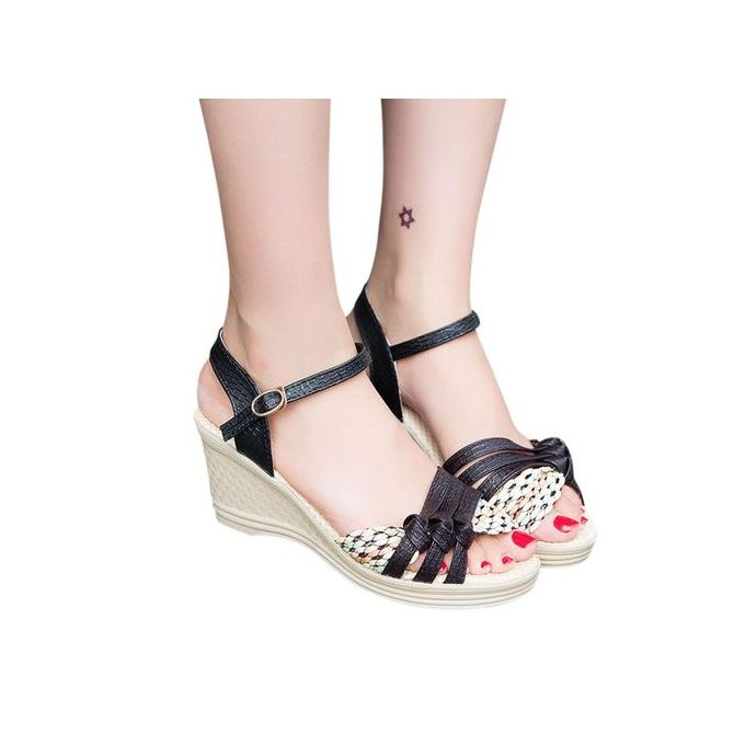 f45fb3d94 ... Jiahsyc Store Ladies Women Wedges Shoes Summer Sandals Platform Toe High -Heeled Shoes-Black