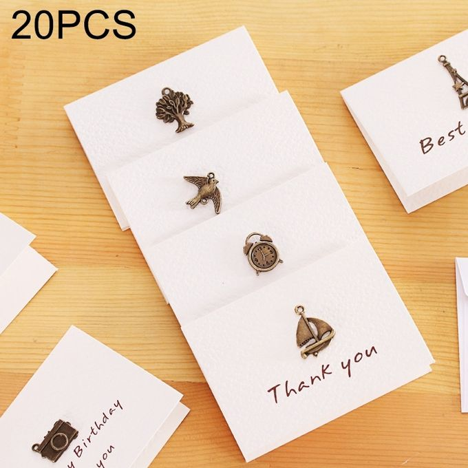 20 PCS Creative Simple Mini Ornaments Greeting Card Birthday Card DIY Folding Blessing Card Postcard, Random Style Delivery –  مصر
