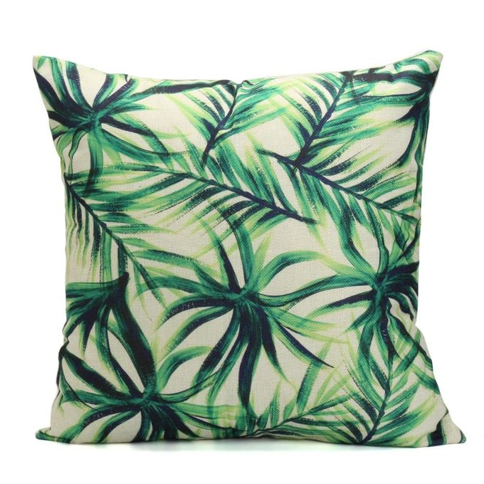 Green Leaf Plant Cotton Linen Cushion Cover Throw Pillow Case Sofa Home Decor #2 –  مصر