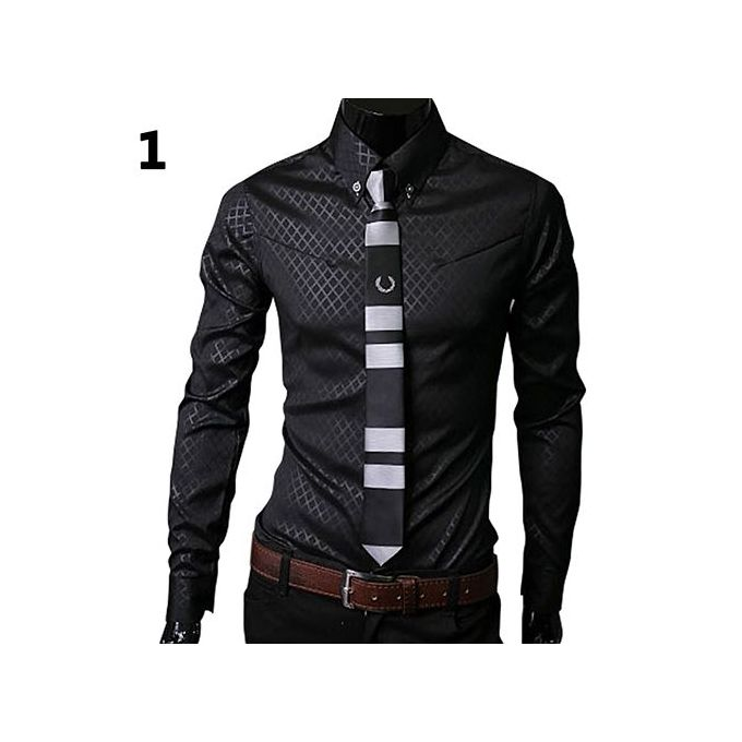 0b7924eb0fef Fashion Men Argyle Luxury Business Style Slim Fit Long Sleeve Casual Dress  Shirt-Black