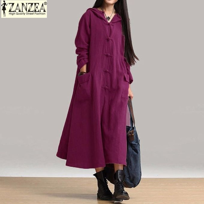 33d369aeadeb ZANZEA Women Maxi Dress Autumn Vintage Casual Loose Long Dresses Ladies V  Neck Long Sleeve Hooded