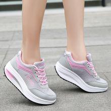 f501c1219 hiamok Fashion Women Mesh Heightening Shoes Soft Bottom Rocking Shoes  Sneakers