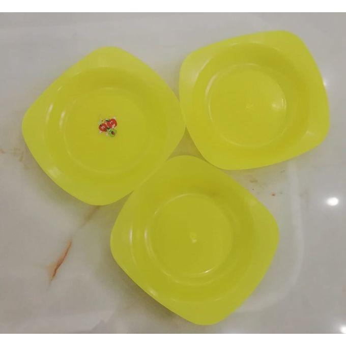 اطباق بلاستيك – أصفر – 3 قطع –  مصر