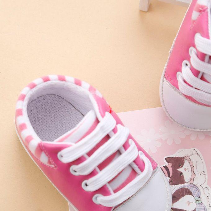 9d13b405e37f1 Newborn Infant Baby Girls Crib Shoes Soft Sole Anti-slip Sneakers Bandage  Shoes -Pink