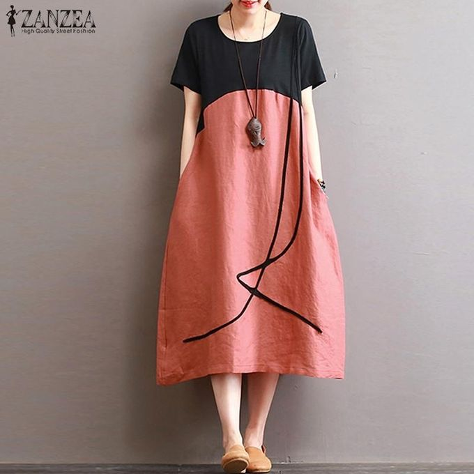 7cf50c53ec ZANZEA Summer Women Loose Plus Size Stiching Patchwork Short Sleeve Linen  Cotton Midi Dress Casual Retro