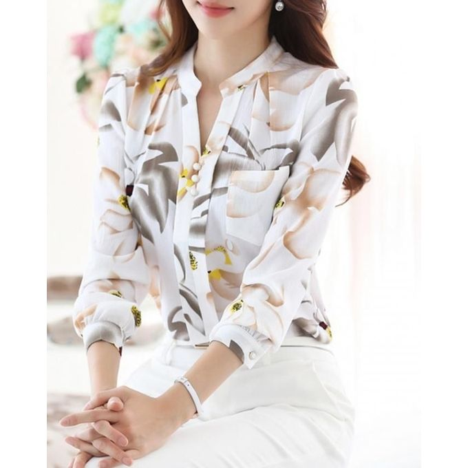20a7f1e8 Fashion Casual Stand Neck Long Sleeve Chiffon Floral Print Blouse Shirt -White