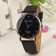 11236cc27 Fashion Women's Diamond Leatheroid Band Round Dial Quartz Wrist Watch  -Black