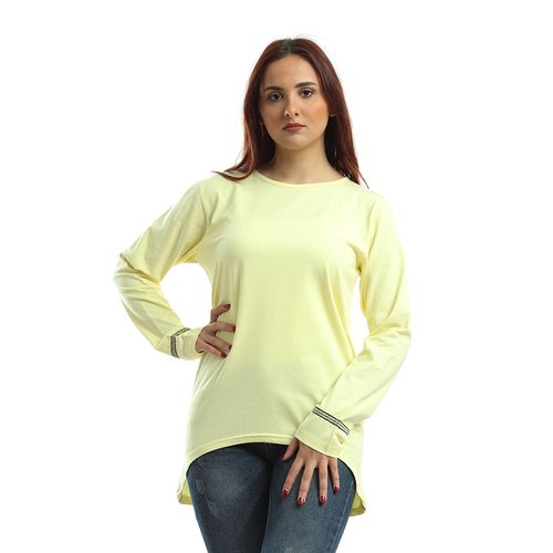Plain T-shirt Embroidered From Sleeves -... - (999)