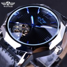 93f06d4aa Winner Winner Blue Ocean Geometry Design Transparent Skeleton Dial Mens  Watch Luxury Automatic Fashion Mechanical Watch Clock