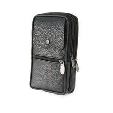 a92d54f0b PU Leather Zipper Waist Bag Travel Wallets Fashion Men Waist Pack Phone Bag  Black