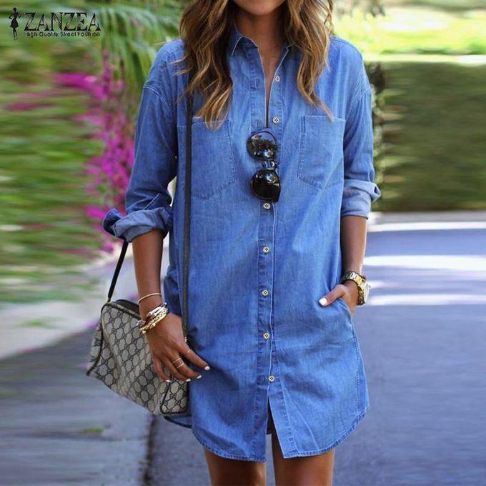 6a16b2b64e4 ZANZEA Women Denim Mini Dress Autumn Ladies Casual Loose Long Sleeve  Buttons Pockets Vintage Shirt Dresses