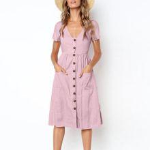 e7dfc08a52d2 Huskspo Womens Holiday Summer Beach Solid Short Sleeve Buttons Party Dress