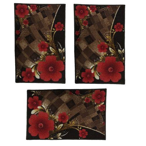 Door Mat - 80*50 Cm- 3 Pcs - Brown & Red