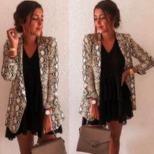 caa428dc5169a Hiamok Women Snake Print Long Sleeve Suit Coat Blazer Biker Jacket Outwear  Tops
