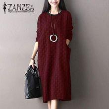 cb345aa050f ZANZEA Vintage Women Round Neck Long Sleeve Pockets Loose Casual Mid-Calf  Dress Autumn Kaftan