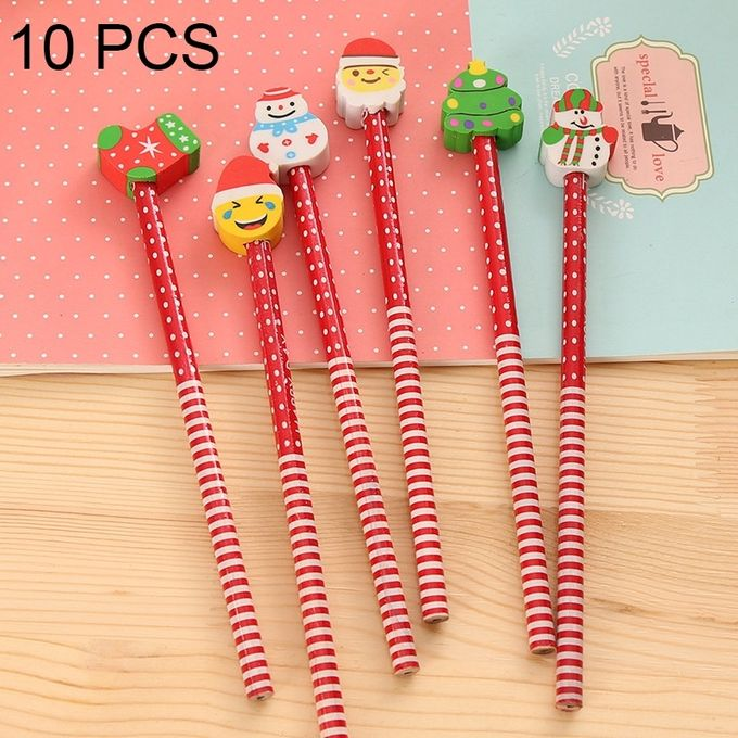 10 PCS Creative Stationery Children Cartoon Rubber Head HB Pencil Christmas Rubber Head HB Pencil Stationery Office Supplies,Random Style Delivery –  مصر