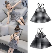 7ea28a2f1 quanxinhshang Toddler Girls Princess Plaid Strap Dress Kids Baby Sleeveless  Dresses Outfits