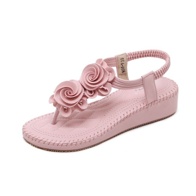 27a18c6ec Large Size Crystal Sandals Summer Flip Flops Ladies Shoes Casual Bohemian  Flowers Wedge Sandals-pink