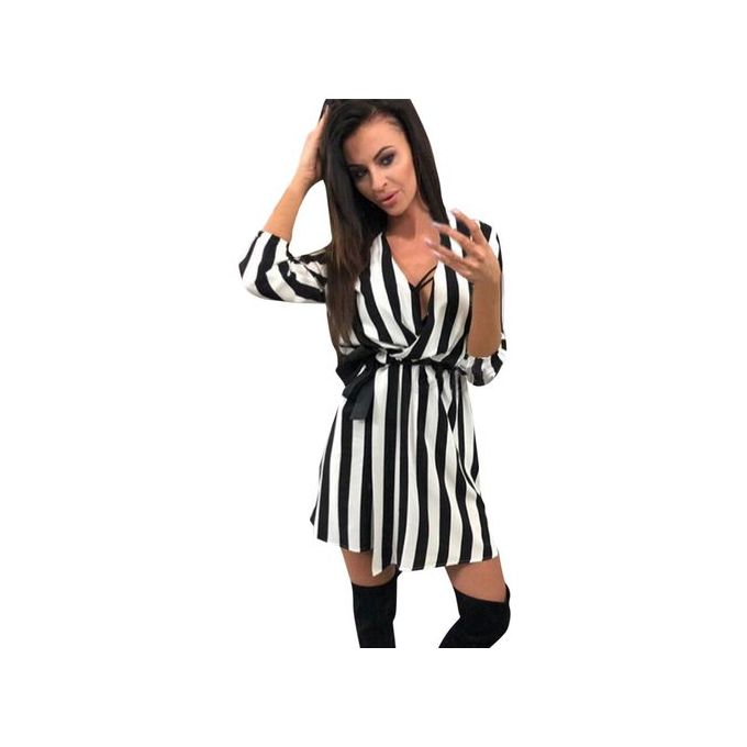 08311c0323 Noble Women V Neck Striped Summer Black White Striped Loose Beach Casual  Dresses