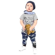a5117b2037290 Adorabl Toddler Kids Baby Letter Dinosaur Print Tops T Shirt Shorts Outfits  Set