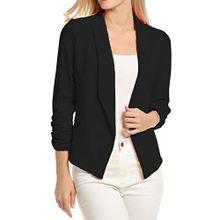 ad6b3673a Xiuxingzi Women 3/4 Sleeve Blazer Open Front Short Cardigan Suit Jacket  Work Coat BK