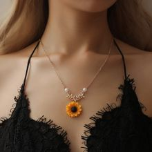 fe5ba592aef Xiuxingzi Women Yellow Gold Plated Sunflower Leaf Branch Charm Pendant Long  Necklace