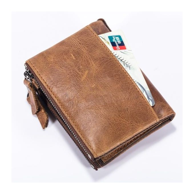 ... Bullcaptain Vintage Genuine Leather Card Holder 2 Zipper Pockets Coin Bag Fashion Wallet For Men