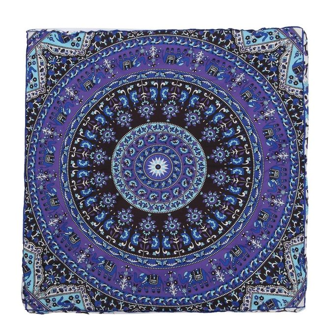 90x90x15cm Purple Indian Mandala Square Cushion Pillowcase Mandala Square Cushion Cover –  مصر
