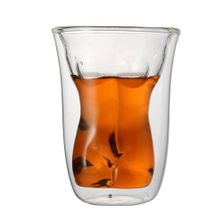 Unique Double Layer 150ml Sexy Naked Female Body Glass Cup Drinking Mug