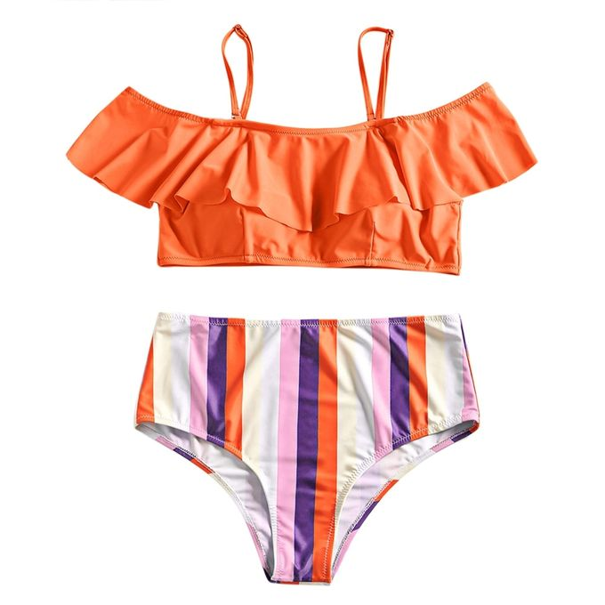 ba07d96d81 Sale on Plus Size High Waist Striped Bikini Set - ORANGE | Jumia Egypt