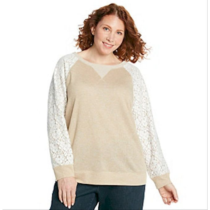 Relativity Plus Size Lace Sleeve Pullover