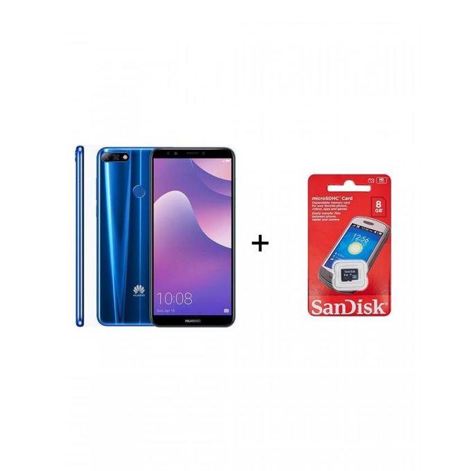 Y7 Prime 2018 - 5.99-inch 32GB Dual SIM 4G Mobile Phone - Blue+card 8g san disk