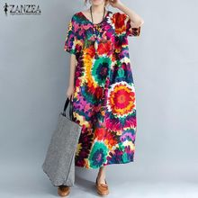 c08e6458e ZANZEA Long Dress Women Short Sleeve Crew Neck Pockets Floral Print Tunic  Red
