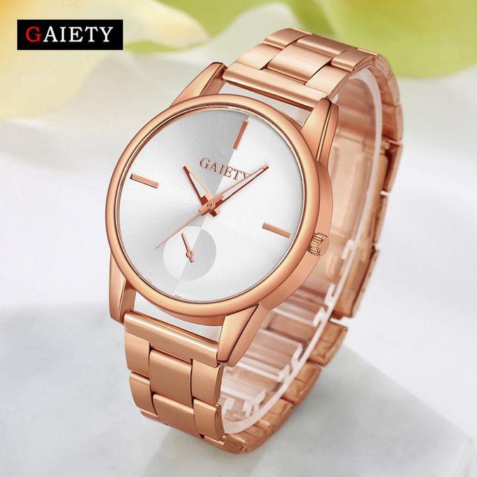 Watch Women Fashion Chain Analog Quartz Round Wrist Watch Watches Rose Gold-Rose Gold –  مصر