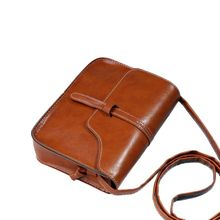 eaccc7cab9336 Vintage Women Travel Bag PU Leather Cross Body Messenger Bag Small Square  Bag Light Brown