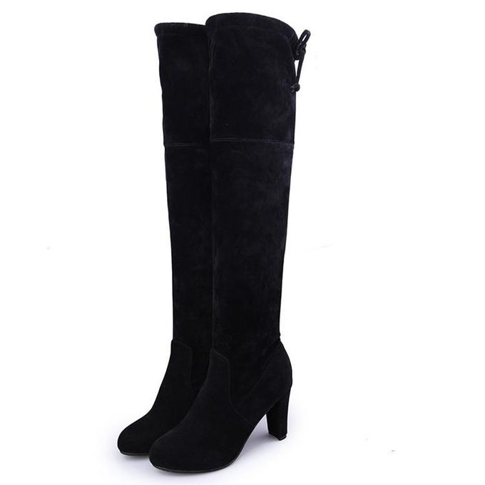 76ce4822fd7 Winter Womens Suede Sexy Over The Knee Thigh High Long Boots Heels Party  Shoes Black