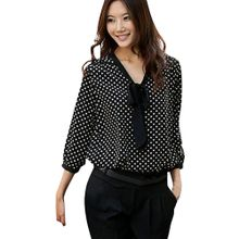 896127379da0e Xiuxingzi Women Long Sleeve Chiffon Bowknot Shirt Casual V-Neck Dots Blouse  Top