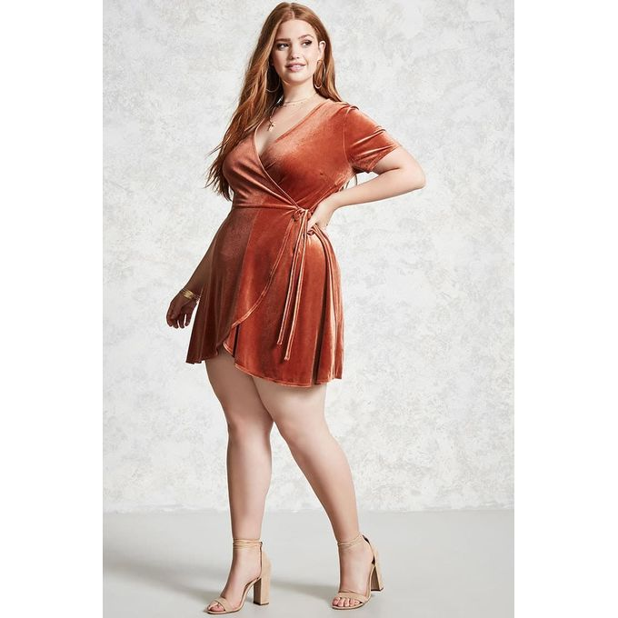 Plus Size Velvet Wrap Dress