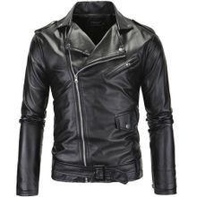 eecf525b7 Men's Locomotive Slim Leather Jacket Collar Cut Diagonal Zipper  Leather Leather Jacket