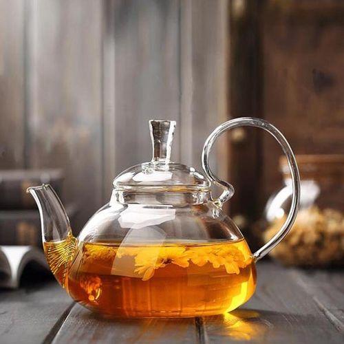 260ml/400ml/600ml/800ml Glass Teapot with Infuser Filter Home Office Tea Tools Drinkware Heat Resistant Flower Tea Pot Jug#600ml