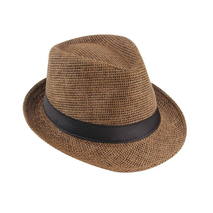5ae4c570d63 Unisex Fedora Trilby Hat Cap Straw Panama Style Packable Travel Sun Hat -Brown