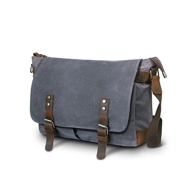 Men Canvas Leather 14inch Laptop Messenger Bag Shoulder Crossbody Bags  School Satchel - Dark Grey 8c2bbddf398fe
