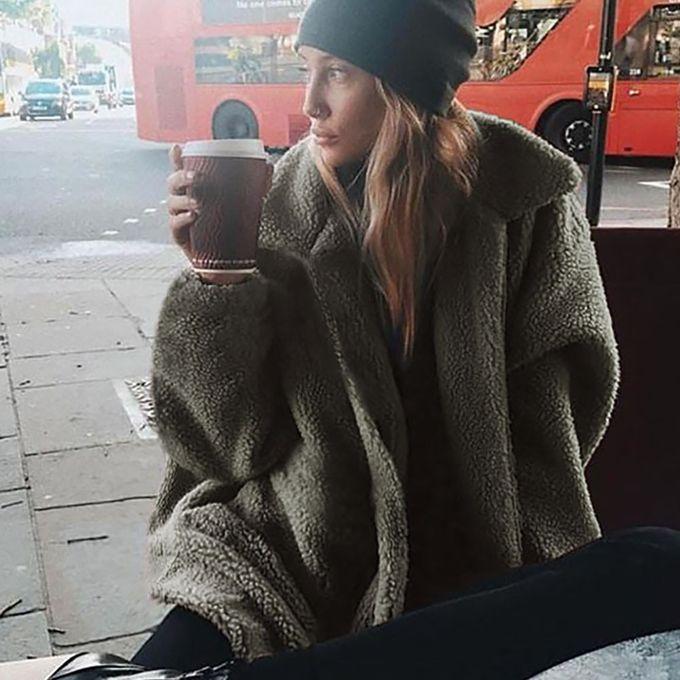 1a6d629b03e ... Tectores Womens Ladies Warm Artificial Wool Coat Zipper Jacket Winter  Parka Outerwear ...